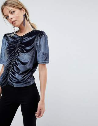 Asos DESIGN T-Shirt in Velvet with Ruching and Puff Sleeve