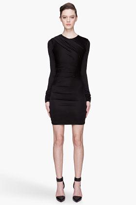 Alexander Wang Black glossy double drape jersey dress