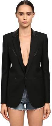 Saint Laurent One Button Wool Gabardine Blazer