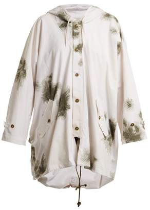 Myar - Oversized Brushstroke Print Cotton Hooded Jacket - Womens - White