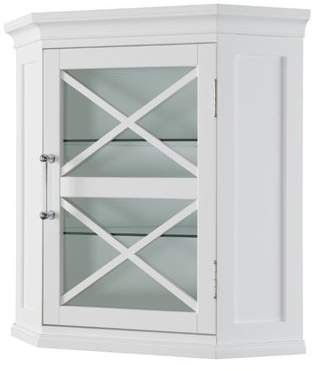 Elegant Home Fashions Blue Ridge Corner Wall Cabinet in White