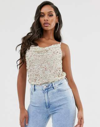 Asos Design DESIGN embellished sequin cami top with cowl neck