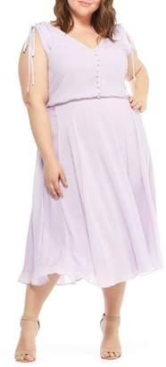 Gal Meets Glam Hillary Clip Dot Chiffon Midi Dress