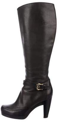 Fendi Leather Mid-Calf Boots Brown Leather Mid-Calf Boots