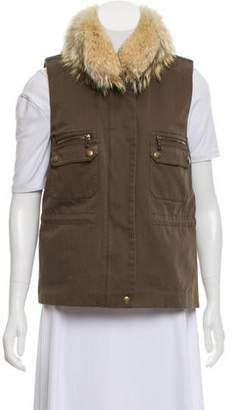 Yves Salomon Army by Fur-Trimmed Zip-Up Vest