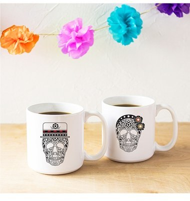 Cathy's Concepts 'His & Hers Sugar Skull' Ceramic Coffee Mugs