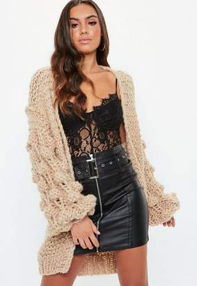 Missguided Taupe Bobble Sleeve Chunky Cardigan
