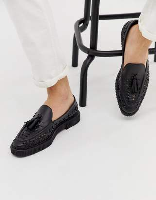 House Of Hounds House of Hounds Orion woven loafers in black leather
