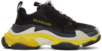Balenciaga Black and Yellow Triple S Sneakers