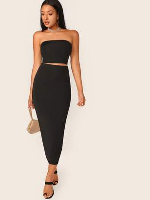Shein Solid Tube Crop Top & Pencil Skirt Set