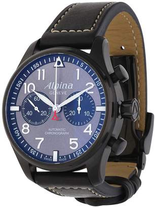 Alpina Men's 44mm Black Leather Band Steel Case Automatic Watch Al-860gb4fbs6