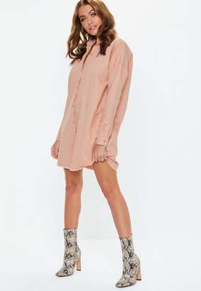 Missguided Pink Oversized Utility Denim Shirt Dress