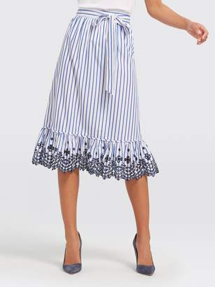 Draper James Collection Lattice Stripe Eyelet Skirt
