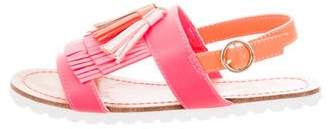Billieblush Girls' Leather Fringe Sandals