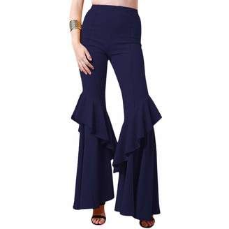 04c07ef6f7996 OwlFay Women's Solid Flare Pants High Waisted Ruffle Crepe Tier Cut Bell  Bottoms Long Wide Leg