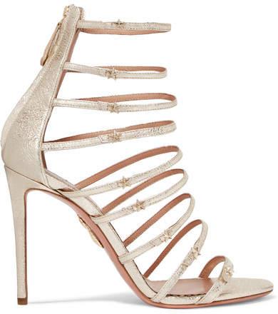 Aquazzura - Claudia Schiffer Star Embellished Metallic Textured-leather Sandals - Gold