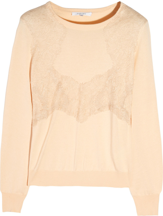 Carven Lace-trimmed knitted sweater