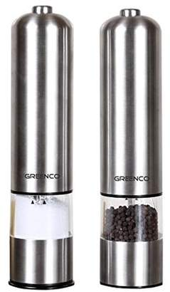 GreenCo Greenco Automatic Electric Pepper Mill and Salt Grinder, Stainless Steel