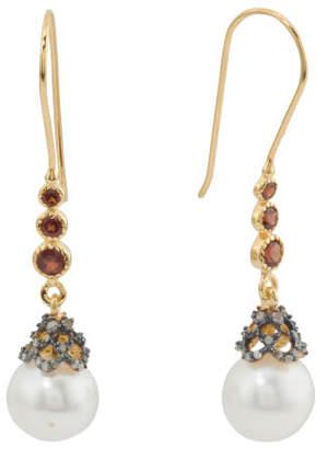 Made In India Sterling Silver Diamond Pearl Garnet Earrings