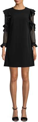 Nicole Miller New York Women's Ruffle-Sleeve Shift Dress