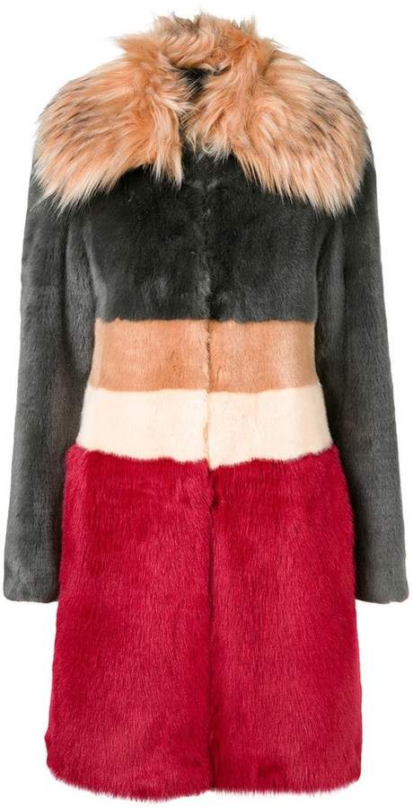 striped faux fur coat