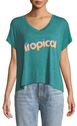 Wildfox Couture Tropical V-Neck Graphic Tee