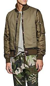 Valentino MEN'S CANVAS & TECH-SATIN BOMBER JACKET - OLIVE SIZE 46 EU