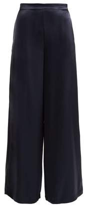 Osman Pandora Satin Palazzo Trousers - Womens - Navy