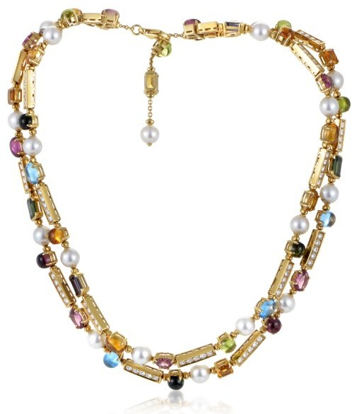 Bvlgari Bulgari 18K Yellow Gold Diamond Allegra Pearl and Gemstone Collar Necklace