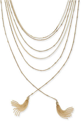 "INC International Concepts I.n.c. Gold-Tone Multi-Chain & Tassel Layered Necklace, 17"" + 3"" extender"