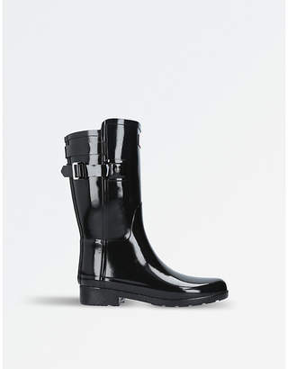 Hunter Ladies Black Timeless Original Short Refined Gloss Back-Strap Rain Boots