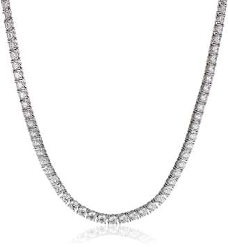 """Swarovski Amazon Collection Rose Plated Sterling Silver Tennis Necklace set with Round Cut Zirconia (77.16 cttw) (5mm), 17"""""""