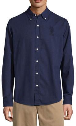 USPA U.S. Polo Assn. Slim Hthr Shirt Long Sleeve Button-Front Shirt