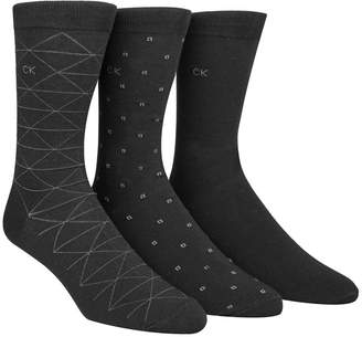 Calvin Klein Men Socks, Fashion Geometric Crew 3 Pack