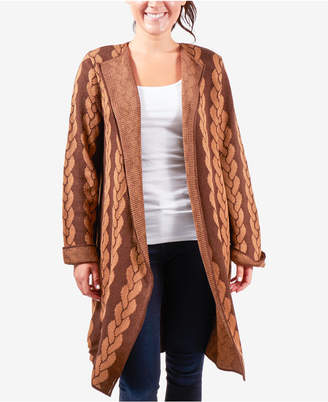 NY Collection Jacquard Geometric-Design Cardigan