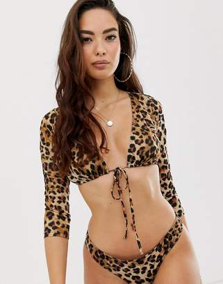 93d883ddcd Asos Design DESIGN recycled long sleeve tie front bikini top in leopard  print