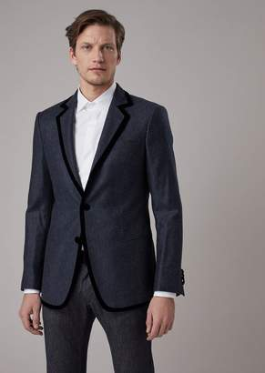 Giorgio Armani Single-Breasted Slim-Fit Soho Jacket In Cashmere With Cavalry Denim Effect