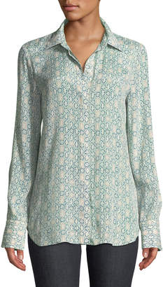 Lafayette 148 New York Scottie Decorative Floral Crepe Long-Sleeve Blouse