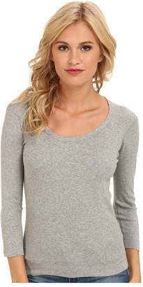 Three Dots 3/4 Sleeve Scoop Neck Women's Long Sleeve Pullover