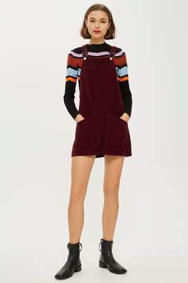 Topshop Burgundy Corduroy Pinafore Dress