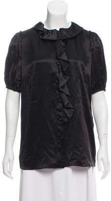 Dolce & Gabbana Ruffled Satin Top w/ Tags