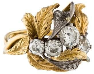 Ring Leaf & Diamond Cluster