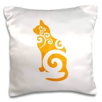 3dRose Swirly Cat Silhouette Orange - Pillow Case, 16 by 16-inch