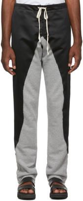 Greg Lauren Black 50/50 Satin/Terry Lounge Pants