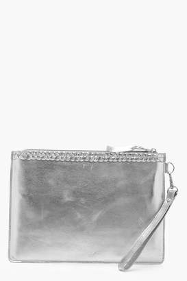 boohoo Ivy Real Leather Plait Trim Clutch