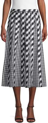 Lafayette 148 New York Adalia Check Pleated Skirt