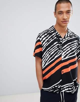 Asos Design Regular Fit Printed Shirt With Revere Collar