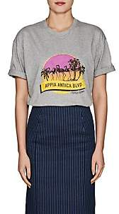 "Fendi Women's ""Appia Antica BLVD"" Cotton Jersey T-shirt - Gray"