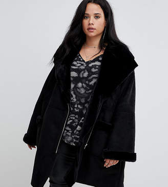 Religion Plus Oversized Aviator Jacket With Faux Fur Collar