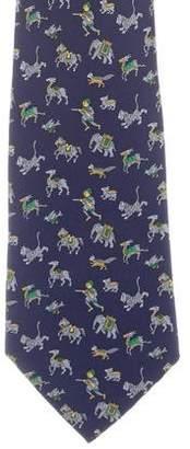 Hermes Silk Predator & Prey Print Tie